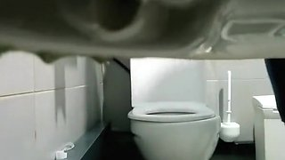 Concealed camera in public toilet catches ebony girl