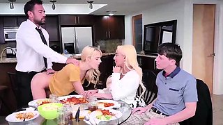 Casual family dinner and foursome