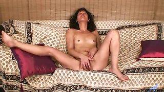 Skinny brunette Latina milf sheer lingerie striptease