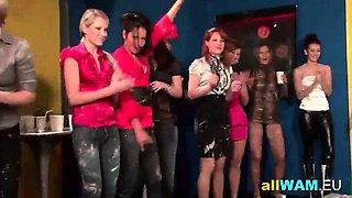Kinky lesbian mud wrestling session