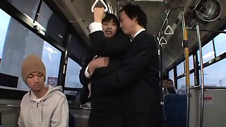 Hana Haruna Asian gets doggy fuck in bus