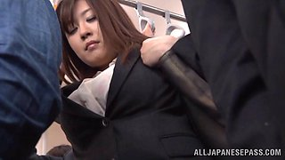 Hot subway ride home from work with a blowjob from a babe