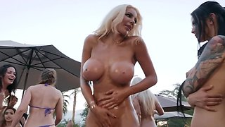 Horny young people gathered for a mini sex party near the poolside