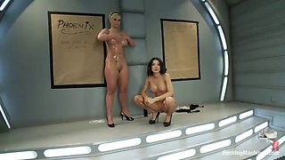 oiled up lesbians fucked in both holes by machines