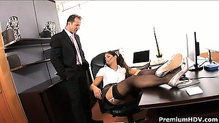 Awesome secretary babe Valentina Rossini dreamed to get