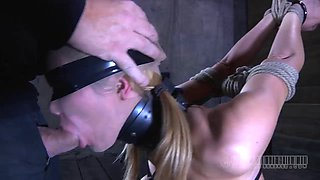 Blonde sex slave with gorgeous tits is in need of a punishment