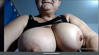 Granny Valerie shows big boobs licking big nipples