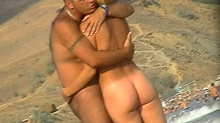 Stunning tanned babes are all over that nudist beach