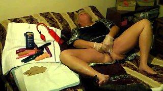 Mistress Wife Masturbates as sissy watches