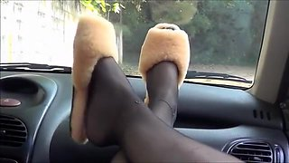 Horny homemade Car, Foot Fetish xxx clip