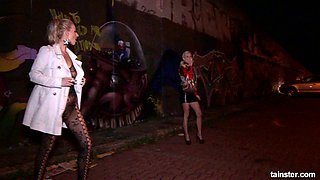 Horny Czech office nympho Victoria Puppy picks up a street slut for lesbian sex