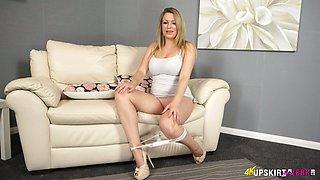 Blonde enchantress Penny Lee takes her panties off