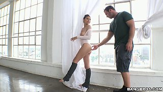 Flexible brunette ballerina Nina North gets banged really hard