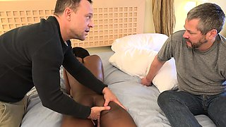 Sexy Black Babe Fingered and Fucked in Front of Her Husband