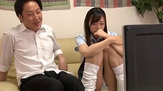 Aroused Asian teen gives skillful schoolgirl blowjob