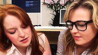 CFNM ginger femdom humiliate boss in office