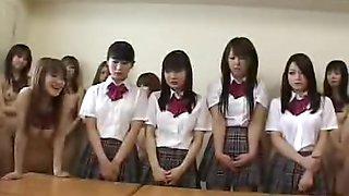 Naked in school Japanese schoolgirls welcome new classmates
