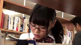 Naughty Japanese teen in school uniform sucks cock