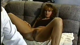 Fine redhead classic milf on the couch needs to be shaved