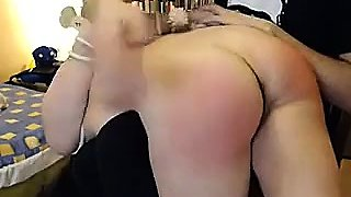 Submissive slut with big boobs gets her ass spanked hard