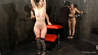 Two submissive sex slaves get abused by their master
