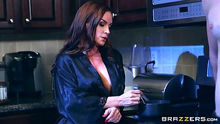 diamond foxxx seducing her son's best friend in the kitchen