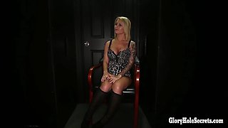blonde hottie sucks as many dicks as she can in random gloryhole