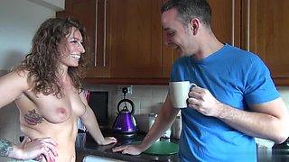 Tattoed beauty Ava Austens fucks with her boyfriend