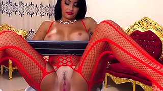 Bodacious brunette milf in lingerie has fun with sex toys