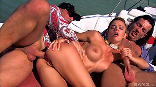 Chloe Delaure gets her ass fucked by two horny guys outdoors
