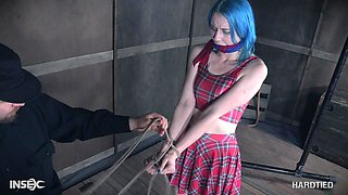 Kinky submissive blue haired teen slut Lux Lives abused with toys