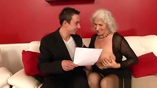 Grandma Norma seducing a man younger than her.