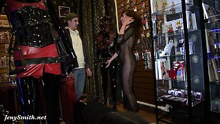 Jeny Smith - naked sales girl meet customers in a sex shop
