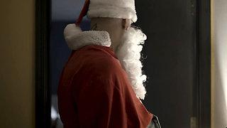 Santa fucks petite teen beauty at the home of his boss