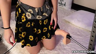 Immodest Butt Plugged Blonde Is Getting Fucked By A Machine