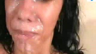 Brazilian beauty takes a facial