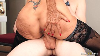 Skinny dude with a large dick fucks dirty granny Sally D'angelo