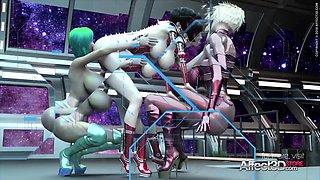 3d Animation Futanari Threesome In A Space Station