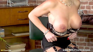Blonde big tits Secretary wanks on desk in nylons and heels