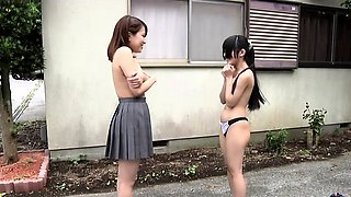 Subtitled Japanese teens strip rock paper scissors outside