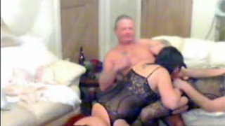 2 mature couples crossdress and get down to business!