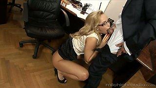 Super sexy secretary Aleska Diamond shows deepthroat skills to her new boss