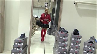 sexy bitch in chastity shopping in Milan