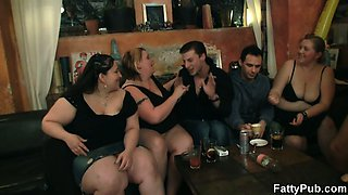Fat chicks strip and suck cocks