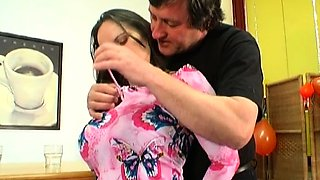 Breathtaking old and young action with honey seducing dad