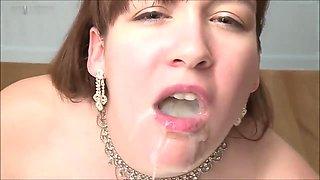 AMWF BUKKAKE ( white girl drinks asian cum) CENSORED