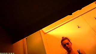 Pregnant babe has fun with her husband in the changing room