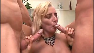 blonde slutty mom fucked by son and his friend