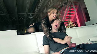 Femdom – Julia Ann Makes Boy Toy Eat His Jizz After Handjob!