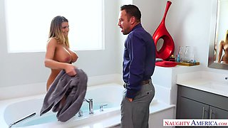 Depraved big boobed American sexpot Brooklyn Chase gives BJ in the bathroom